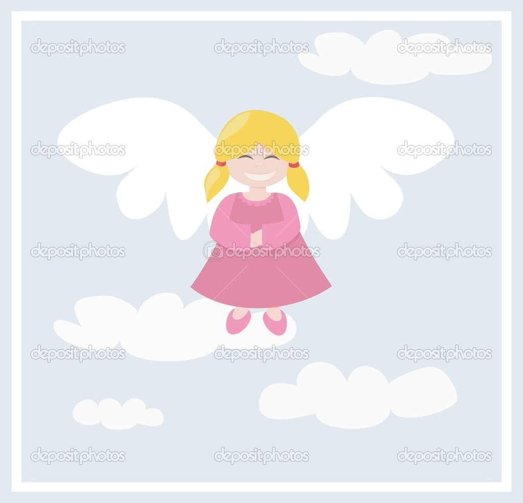 Happy blond angel girl flying in the blue sky, with clouds  Stock Vector #6609097