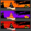 Vector de stock : Halloween cards, banners or backgrounds set with pretty witches.