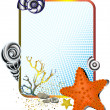 Sea life in frame with starfish - Stockvectorbeeld