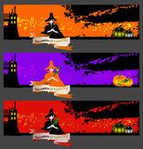 Cartes d'halloween, des bannières ou des arrière-plans sertie de jolies sorcières. — Vecteur