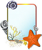 Sea life in frame with starfish — Vector de stock
