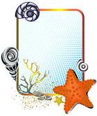 çerçeve ile deniz yıldızı deniz hayat — Stok Vektör