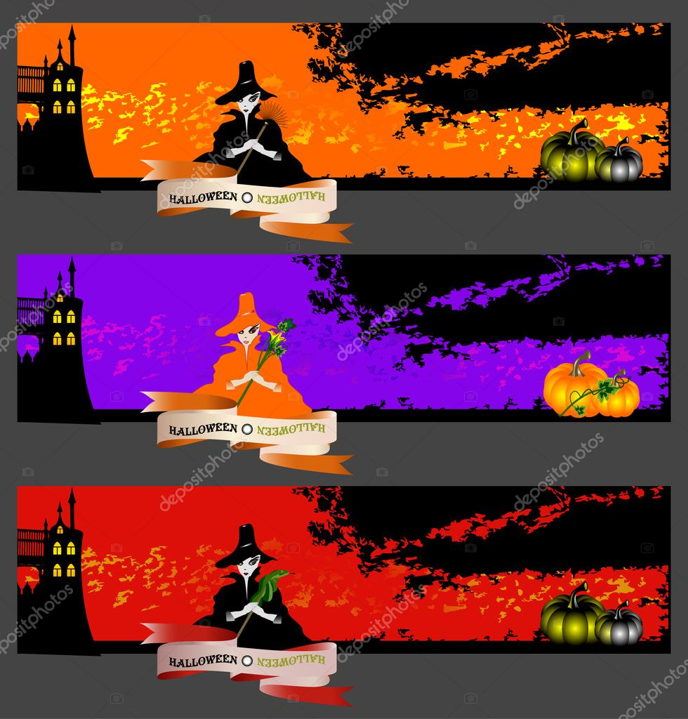 Vector banners or invitation cards set with cute witches. — Stock Vector #6581474