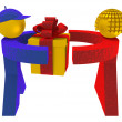 3d man and woman taking a present box — Stok fotoğraf