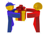 3d man and woman taking a present box — Stock Photo