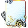 Sea life in frame with shells - Imagen vectorial