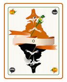 Carta di halloween con streghe graziose — Vettoriale Stock