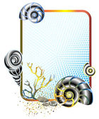 Sea life in frame with shells — Stock Vector
