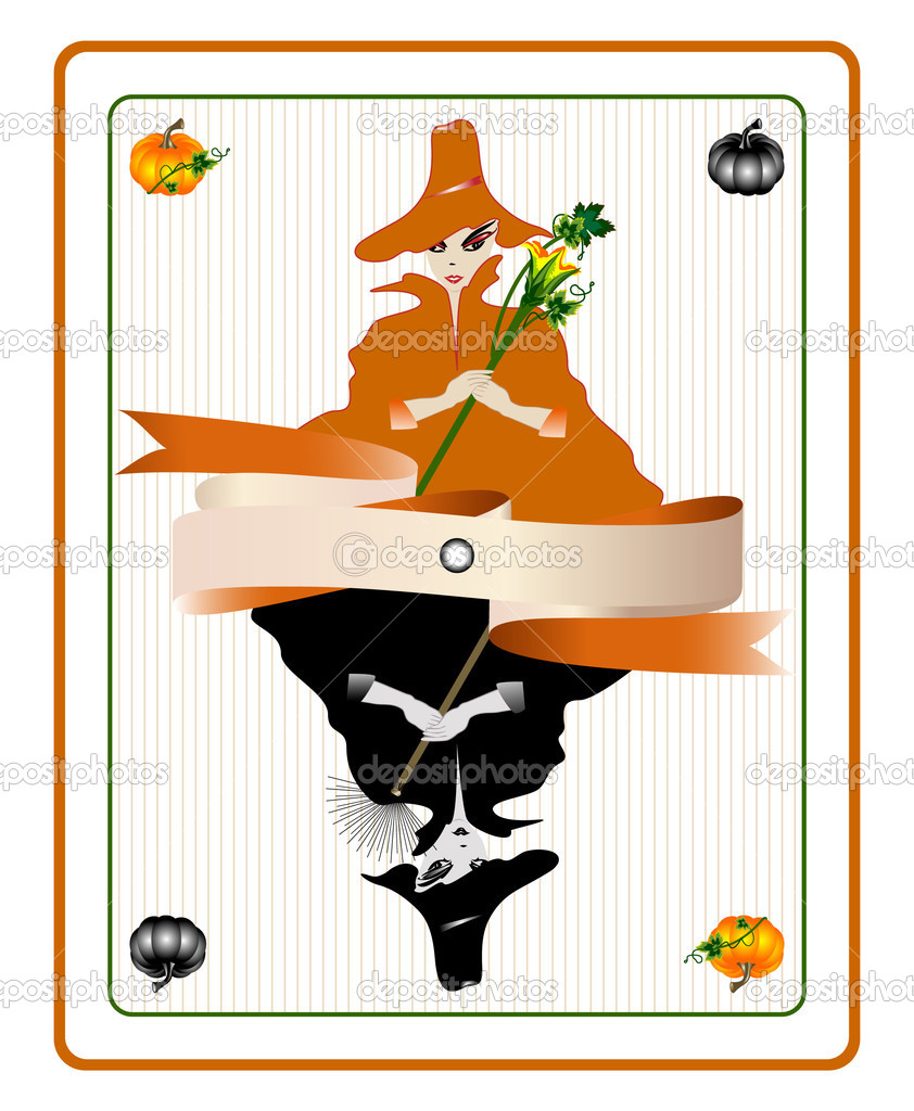 Vector illustration of witches in form of playing card. — Stock Vector #6621894