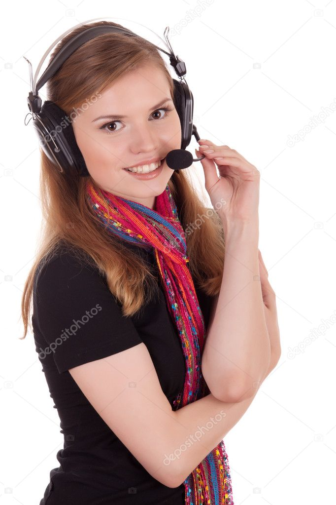 Smiling staff call center over white background — Stock Photo #6740731