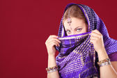 Portrait of a young woman in sari — Foto de Stock