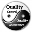 Quality assurance and Quality Control Ying-Yang - Stock Photo
