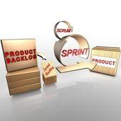 Agile scrum-prozessschmetterling auf blüte ausruhen — Stockfoto