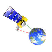 Spacecraft emitting and receiving data from earth — Stock Photo