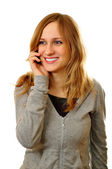 Happy woman having phone conversation — Stock Photo