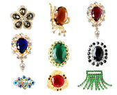 Collection of vintage brooches — Stock Photo
