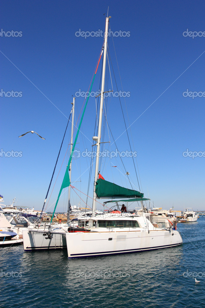 Luxury white catamaran boat  Stock Photo #6606213