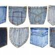 Blue jeans pocket isolated — Stock Photo