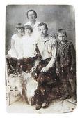 Ancient photo of family — Stock Photo