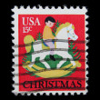Christmas on post stamp - Stock Photo