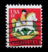 Christmas on post stamp — Stock Photo