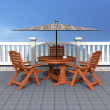 Outdoor patio with chairs and table - Stock Photo