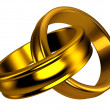 Gold wedding rings, jewelry - Stock Photo