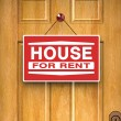 House for rent sign on door, real estate, advertisement — Stock Photo