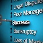 texto de éxito clave, negocio problemas, plata — Foto de Stock