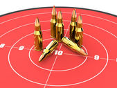 Bullets on the top of red target, ammo, ammunition — Stockfoto