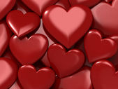 Glossy red hearts, love — Stock Photo