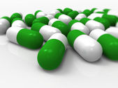 Green capsules, pharmaceutical, medical — Stock Photo