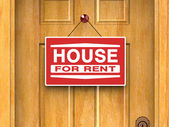 House for rent sign on door, real estate, advertisement — Stockfoto