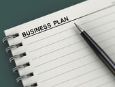 Business plan title, notebook, planner, pen — Stock Photo