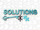 Solutions text, key, jigsaw puzzle — Stockfoto