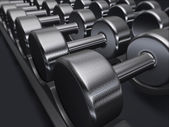Free weights, dumbbells, gym — Stockfoto