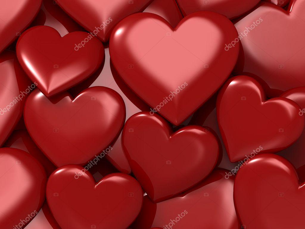 Glossy red hearts. Good for love, valentine, holiday, romance and couple concept — Stock Photo #6616568