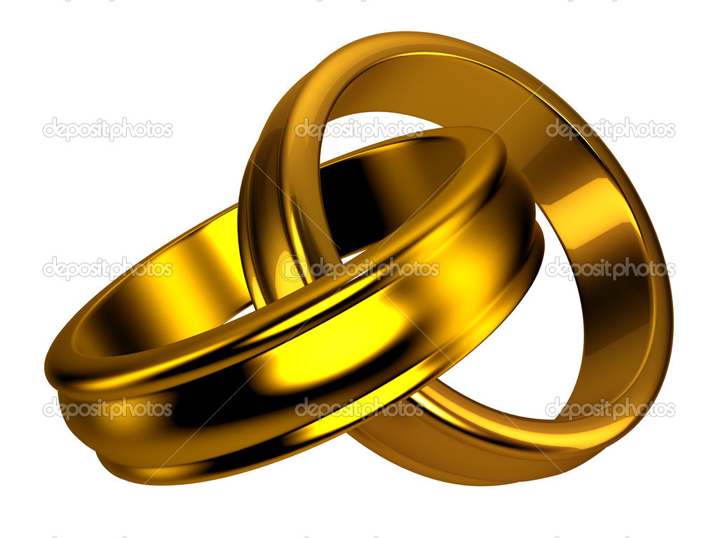 Gold wedding rings on white background. Good for wedding, love, and jewelry concept — Stock Photo #6616656