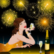 Happy New Year with woman — Stock Photo #6615472