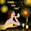 Happy New Year with woman — Stock Photo
