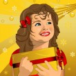Child with Christmas present — Vector de stock
