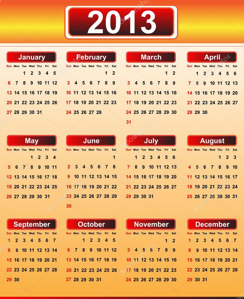 Календарь 2013.  Векторная иллюстрация.