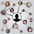 Social Networking Friends Diagram - Stock Photo