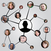 Social Networking Friends Diagram — Stockfoto