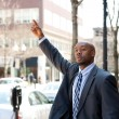 Stock Photo: Business Man Hailing a Taxi Cab