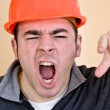 Angry Construction Worker — Stock Photo