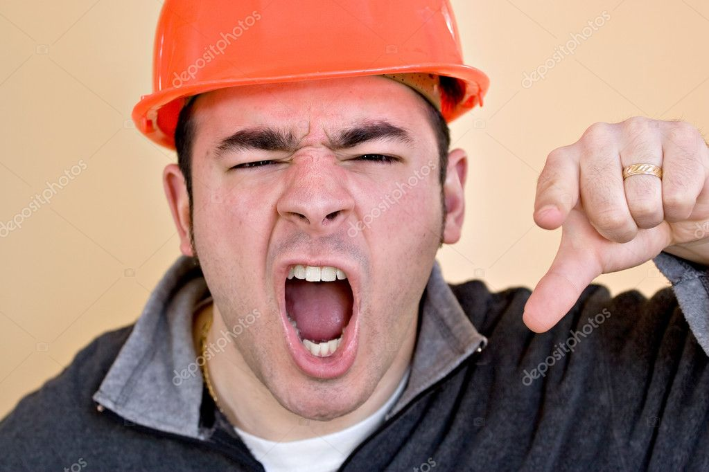 Unhappy Construction Worker This Construction Worker is