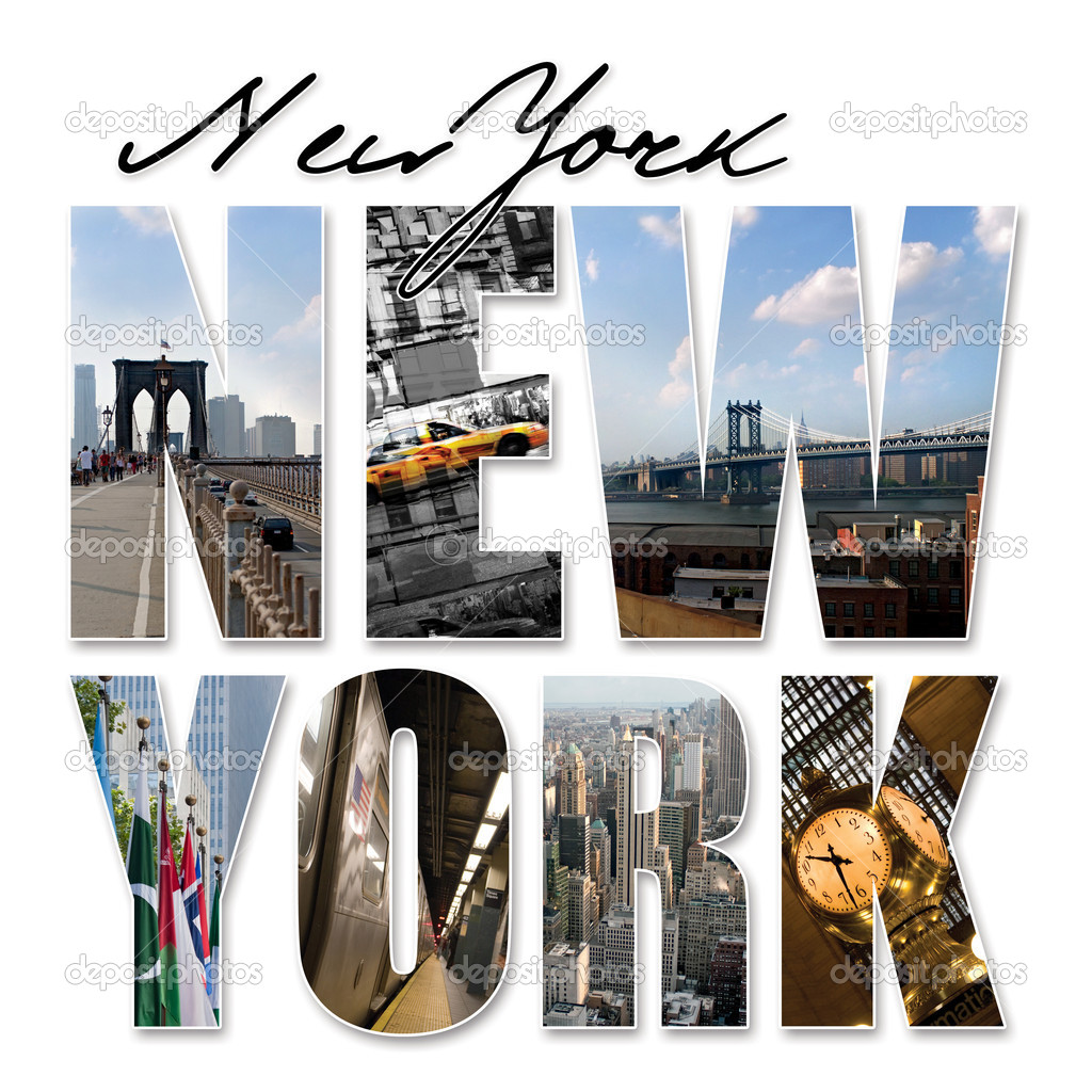 A New York City themed montage or collage featuring different famous locations and areas of The Big Apple.  Stock Photo #6694293