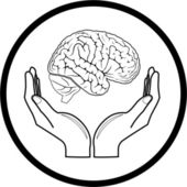 Vector brain in hands icon — Stock Vector