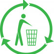 Vector recycling bin icon — Stock Vector